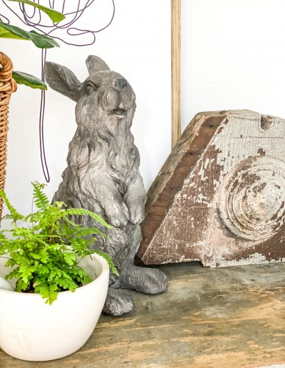 Easter Rabbit with Vintage wood piece and plant in white Mortar