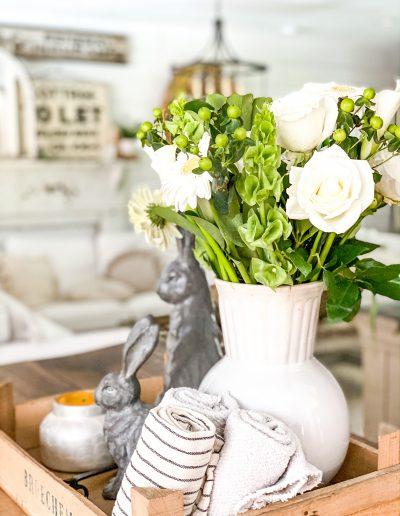 White flower bouquet in Ironstone vase
