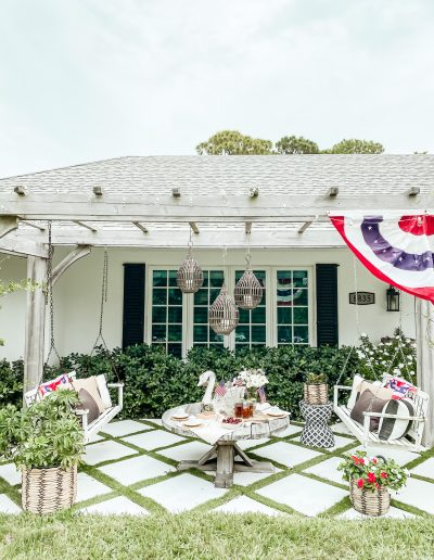 Outside Tea Party with Patriotic Decor