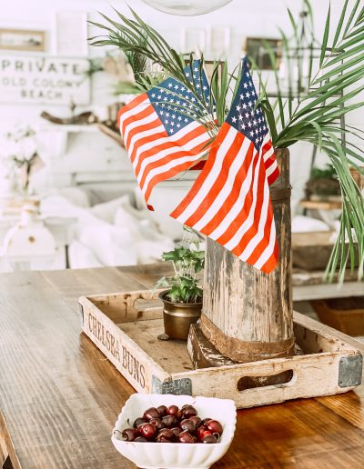 American flags with palm branches on kitchen island